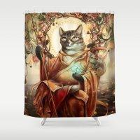 discount Shower Curtains featuring Jizo Bodhissatva by Christina Hess