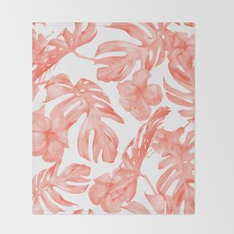 Tropical Hibiscus and Palm Leaves Dark Coral White Throw Blanket