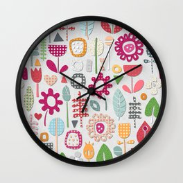 paper cut flowers silver Wall Clock