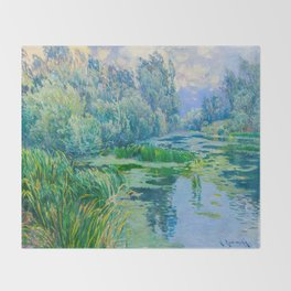 Václav Radimský (1867-1946) At The Confluence Colorful Bright Impressionist Oil Landscape Painting Throw Blanket