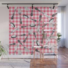 Utensils on Pink Picnic Blanket Wall Mural