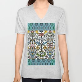 flower and birds in Persian blue mosaic Unisex V-Neck