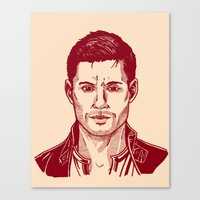 dean winchester Canvas Prints featuring Dean Winchester by Maria G. Vieyra Ortiz