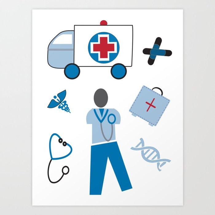 Wellness Health Medical Symbols Doctors And Nurse Art Print By