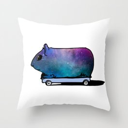 Cosmic Guinea Pig on Wheels Throw Pillow