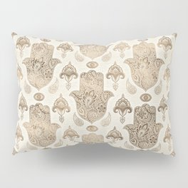 Hamsa Hand Pattern Pastel Gold Pillow Sham