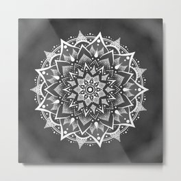 White on Grey mandala Metal Print