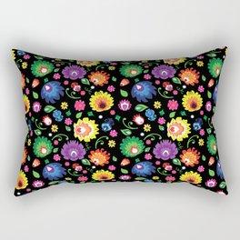 Folk - garden on black background Rectangular Pillow