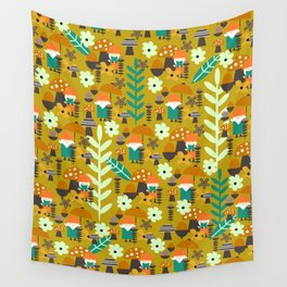 Autumn gnome garden Wall Tapestry