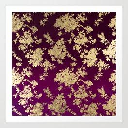 Chic faux gold burgundy ombre watercolor floral Art Print