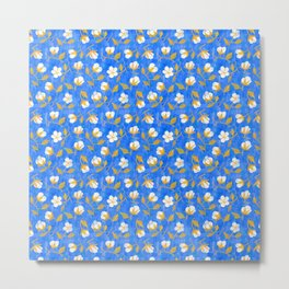Painterly cotton flowers // in cobalt blue Metal Print