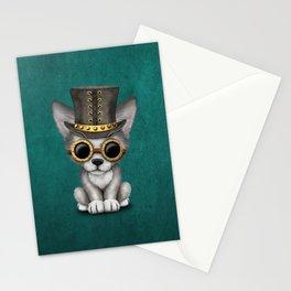 Steampunk Baby Wolf Cub on Blue Stationery Cards