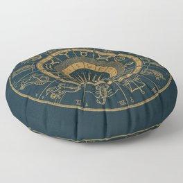 Vintage Zodiac & Astrology Chart | Royal Blue & Gold Floor Pillow