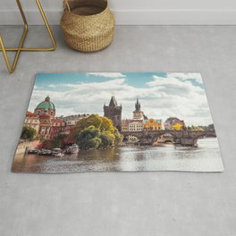 Historic Charles Bridge Vltava River Prague Amazing Cityscape Czech Republic Europe Ultra HD Rug