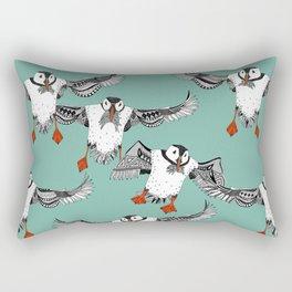 Atlantic Puffins mint Rectangular Pillow