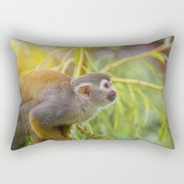 Squirrel Monkey wild animal in sunlight Rectangular Pillow