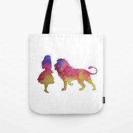 Lion and girl Tote Bag
