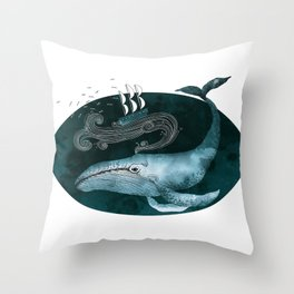 The whale and the ship Throw Pillow