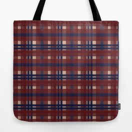 Plaid- Navy Red and Tan Tote Bag