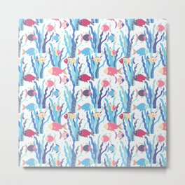 Cute pink blue modern coral reef floral fish pattern Metal Print