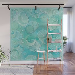 Floating Leaves Pattern IV - Winter, Ice Teal Wall Mural