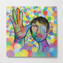 ASL Father on a Bright Bubble Background Metal Print