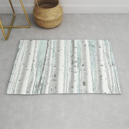 Pale Birch and Blue Rug
