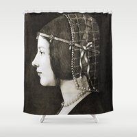 da vinci Shower Curtains featuring Bianca Sforza by Leonardo da Vinci  by Palazzo Art Gallery