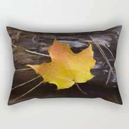 Autumn Leaf on Log Painting Style Rectangular Pillow