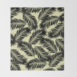 Palm Frond Tropical Décor Leaf Pattern Black on Yellow Throw Blanket