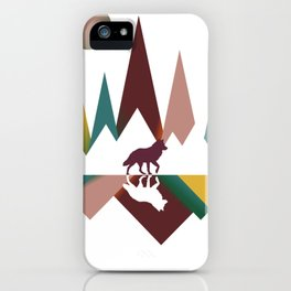 Colorful Vintage Wolf In Whimsical Wild and Mountains With Moon iPhone Case