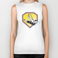 crossfit Biker Tanks featuring Crossfit Athlete Muscle-Up Gymnastics Ring Retro by patrimonio