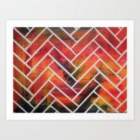 herringbone Art Prints featuring Herringbone by Alyssa Clancy
