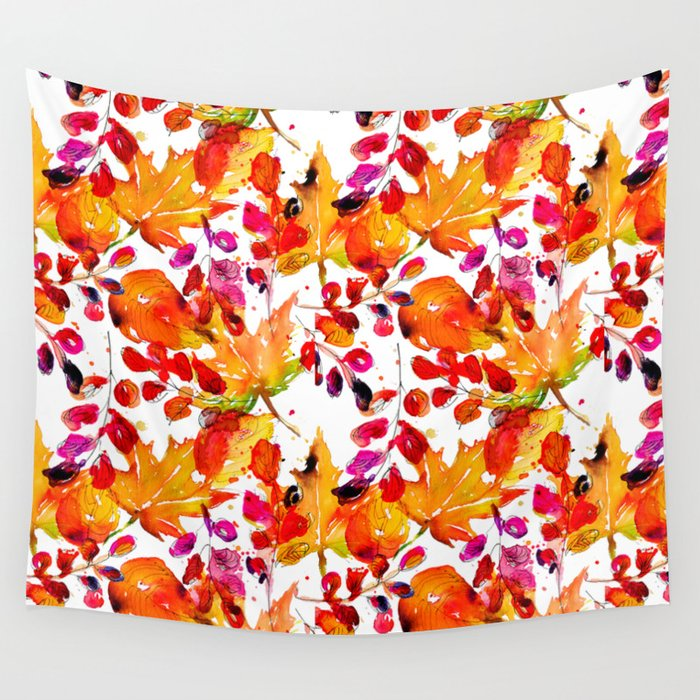 Watercolor autumn leaves Wall Tapestry