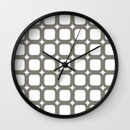 RoundSquares Gray on White Wall Clock