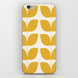 Mid Century Modern Leaves Yellow #society6 #buyart  iPhone Skin