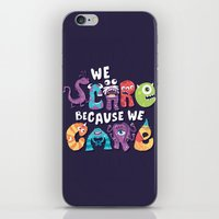 risa rodil iPhone & iPod Skins featuring We Scare Because We Care by Risa Rodil