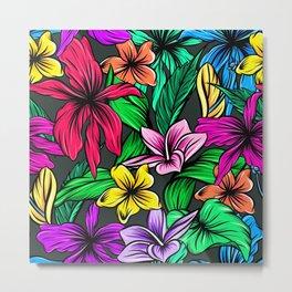 Colorful Hibiscus Flowers Garden Metal Print