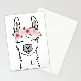 Floral Crown Llama Stationery Cards