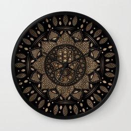 Hamsa Hand -Hand of Fatima in Lotus mandala Wall Clock