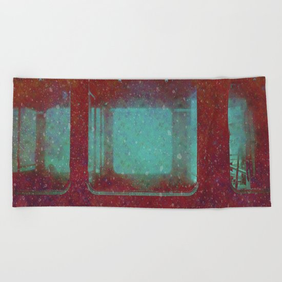 Into the City, Structure Windows Grunge Beach Towel