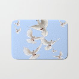 WHITE PEACE DOVES IN SKY BLUE COLOR Bath Mat
