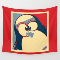obama Wall Tapestries featuring Linux tux penguin Obama poster by Sofia Youshi
