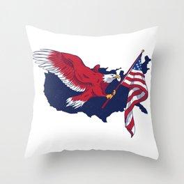 Patriotic American Eagle Throw Pillow
