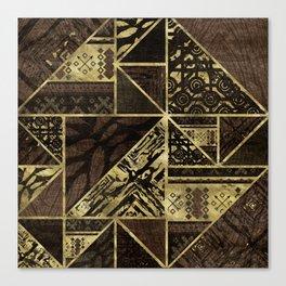 Ethnic Geometric Wooden texture pattern Canvas Print
