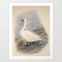 swan Art Prints featuring Swan by Lyubov Fonareva