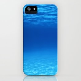 Underwater Blue Ocean, Sandy sea bottom Underwater background iPhone Case