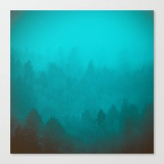Teal Fog Forest - Foggy Redwood Trees in California Canvas Print
