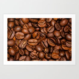 Shiny brown coffee beans Art Print