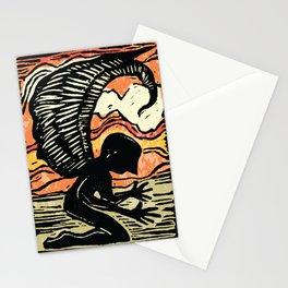 FALLEN ANGEL LINOCUT Stationery Cards
